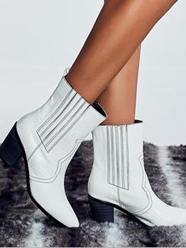 Slip On Chunky Heel Boots