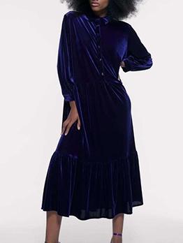 Turndown Collar Long Sleeve Velvet Dress