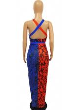Contrast Color Leopard Print Sleeveless Maxi Dress