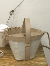Stone Grain Crossbody Bucket Bag With Handle