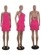 Solid Backless Tassel Sleeveless Mini Dress