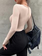 Minimalist Style Pure Color Long Sleeve Bodysuit