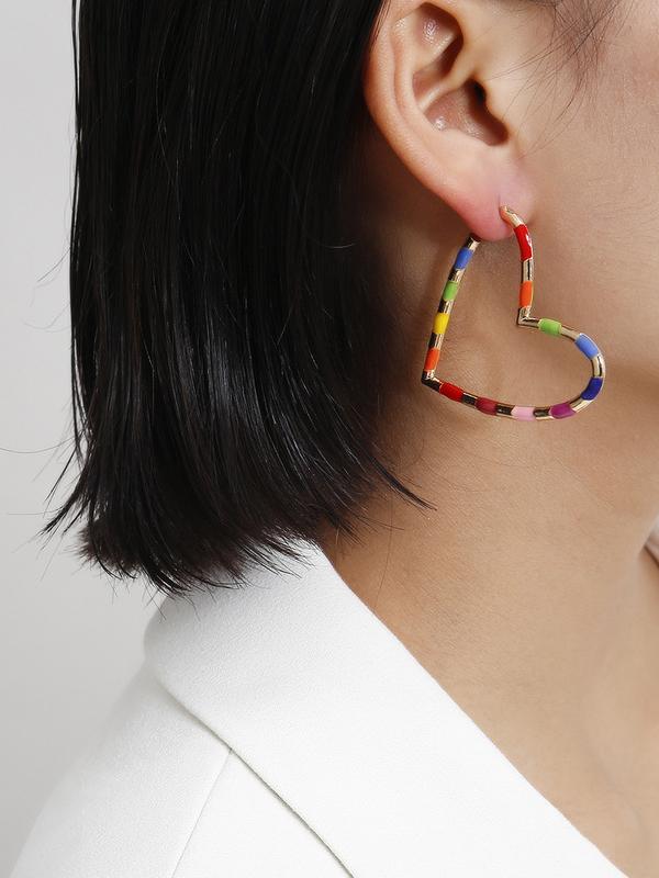 Contrast Color Heart Shape Earring For Women