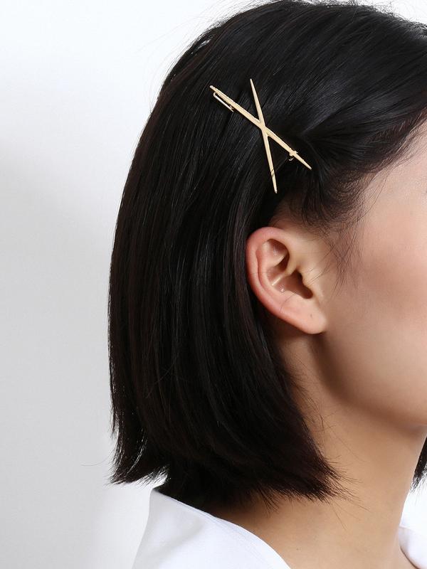 Korean X Shape Gold Hair Clips For Women