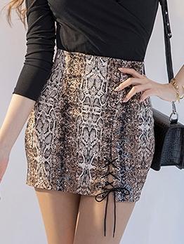 Vintage Style Leopard Print High Waist Skirt