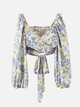 Fashion V Neck Tie-Wrap Lantern Sleeve Blouse