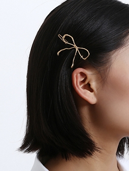 Hot Sale Bow Shape Gold Hair Clips