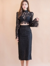 Mock Neck Flare Sleeve Black Lace Two Piece Skirt Sets