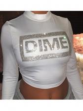 Mock Neck Rhinestone Decor Crop White T-Shirt