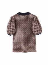 Fashion Lantern Sleeve Houndstooth Brown T-Shirt