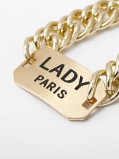 Punk Style Letter Carving Gold Bracelet