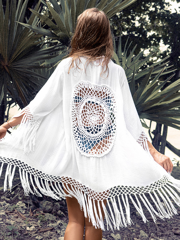 Tassel Hem Hollow Out White Long Swimsuit Cover Up