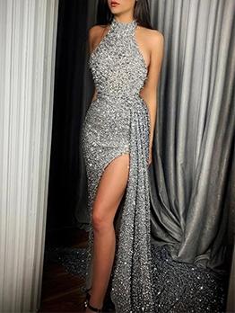 Split Hem Sleeveless Dots Long Evening Gowns