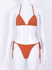 Sexy Tie-Wrap Solid Bikinis For Women