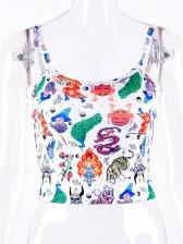 Animal Print Sleeveless Crop Cami Top