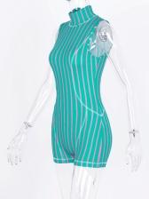 Mock Neck High Waist Sleeveless Striped Romper