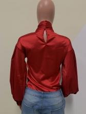 Vintage Solid Lantern Sleeve Tie Neck Blouse