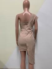 Off Shoulder Irregular Hem Fitted Blush Party Dress