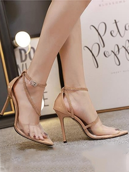 Transparent PVC Diamonds Point Toe High Heel Sandals