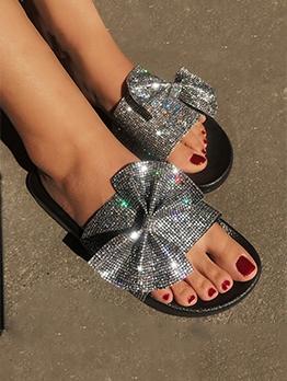 Fashion Sequined Bow Slide Slipper