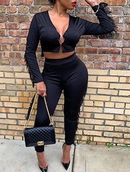 Fashion Tassel Decor Cropped Two Piece Pants Set