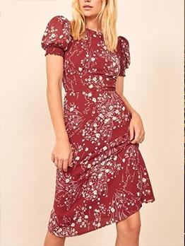 Vintage Crew Neck Printed Puff Short Sleeve Dress