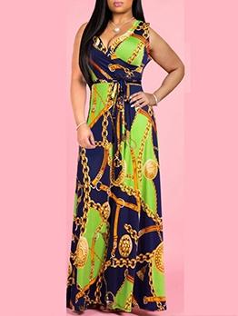 V Neck Chain Print Sleeveless Maxi Dress