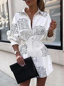Letter Print Long Sleeve Shirt Dress For Women