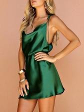 Sexy Backless Sleeveless Green Mini Dress