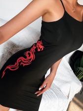 Dragon Print Sleeveless Black Short Dress