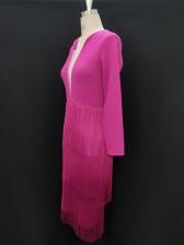 Deep V Neck Tassel Hem Long Sleeve Party Dress