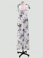 Deep V Neck Backless Print Long Evening Dress
