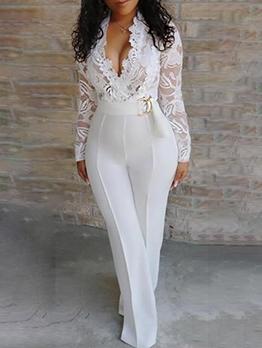 V Neck Lace Panel Long Sleeve White Jumpsuit