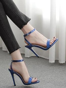 Snake Embossed Ankle Strap Heel Sandal