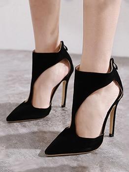 Black Side Cutout Heel Sandal