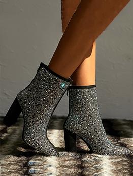 Black Chunky Heel Rhinestone Studded Boots