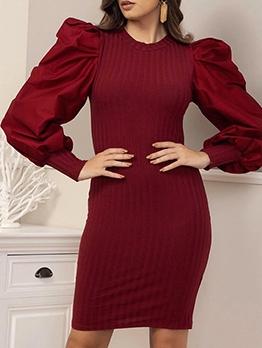 Euro Puff Sleeve Solid Long Sleeve Short Dress