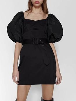 Square Neck Lantern Sleeve Black Short Dress