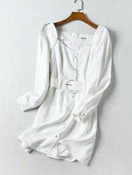 Vintage Style V Neck Solid Long Sleeve Dress