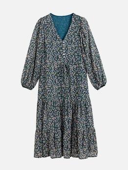 Vintage Long Sleeve Floral Dress For Women