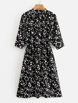 Daisy Print Black Long Sleeve Dress For Summer