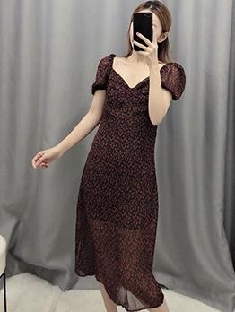 V Neck Puff Sleeve Floral Chiffon Maxi Dress