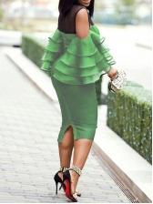 Gauze Patchwork See Through Bodycon Dress