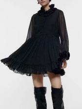 Stringy Selvedge Polka Dots Chiffon Short Dress