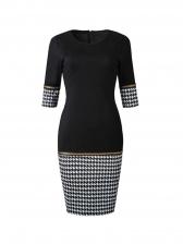 Houndstooth Print Half Sleeve Ladies Dress