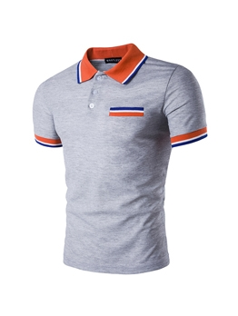 Cheap Color Block Polo Neck Men T-Shirt