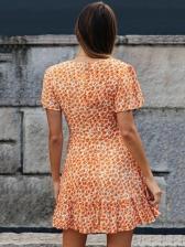 Deep v Neck Short Sleeve Floral Dress For Women