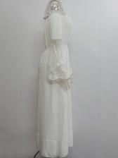 Off Shoulder Lace Patchwork White Maxi Dress
