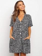 Summer Leopard Print Short Sleeve Short Dress