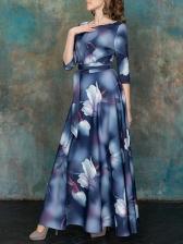 Elegant Half Sleeve Large Hem Print Maxi Dress